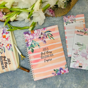 Set of Notebook& 2 To Do List & Pencil case -Justa Girl  Boss