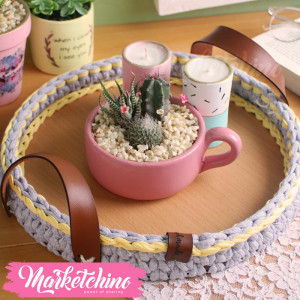 Wooden Tray-Crochet-Gray