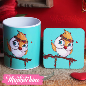 Set Of Ceramic Mug&Coaster-owl