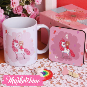 Set Of Ceramic Mug&Coaster-Unicorn&Girl