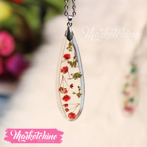 Necklace-Resin-Red Flower