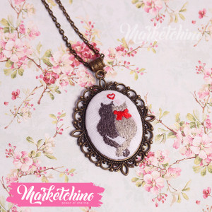 Embroidered Necklace-Cats