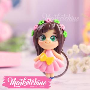 Keychain-Polymer Clay-Beauty Girl