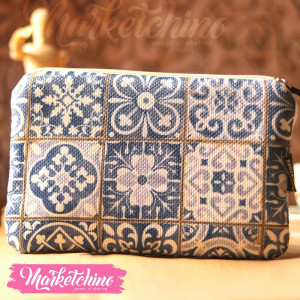 Make Up Bag-Blue Pattern-1