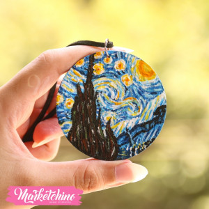 Necklace-Wood-Van Gogh-Starry Night