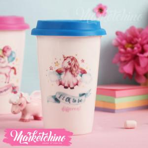 Ceramic Mug-Unicorn-Blue