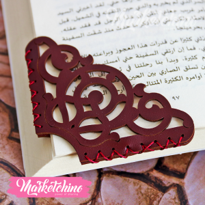 Leather Bookmark-Ornamented-Maroon