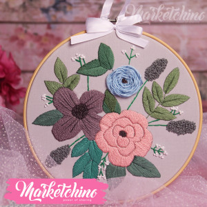Embroidered Tableau-Flowers