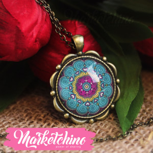 Necklace-Islamic Pattern-Fuchsia&Min Green