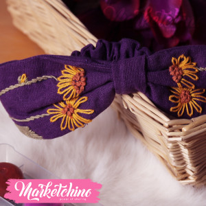 Embroidered Hairband For Kids-Purple