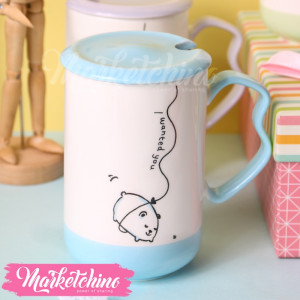 Ceramic Mug-Puppy-Light Blue
