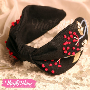 Embroidered Hairband-Black-1