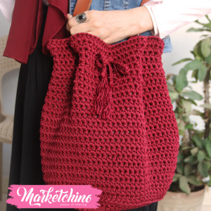 Cross Bag -Crochet-Maroon