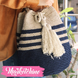 Cross Bag Crochet-Dark Blue&Beige
