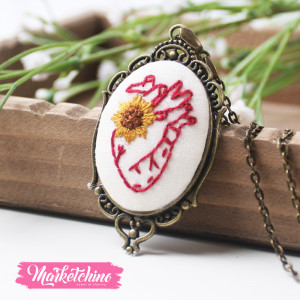 Embroidered Necklace-Heart Sun Flower
