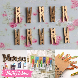 Wooden paper Clip-Gold (10)