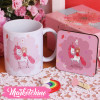 Set Of Ceramic Mug&Coaster-Unicorn&Girl
