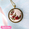 Necklace-Maroon Flowers