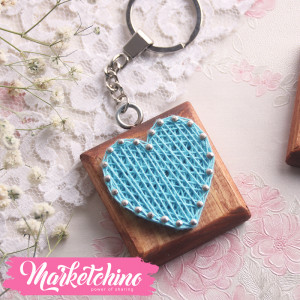 Keychain-String Art-Heart-Baby Blue