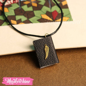 Necklace-Book-Feather-Black
