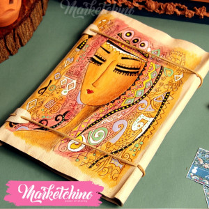 Leather Sketch Book-Girl-Beige