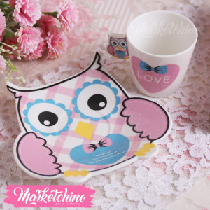 Porcelain Coffee Cup&plate-Owl