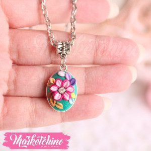 Necklace-Flowers-Green