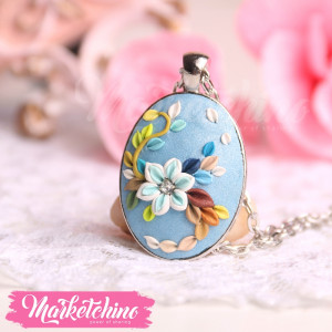 Necklace-Flowers-Light Blue