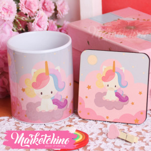 Set Of Printed Ceramic Mug&Coaster-Unicorn-Pastel