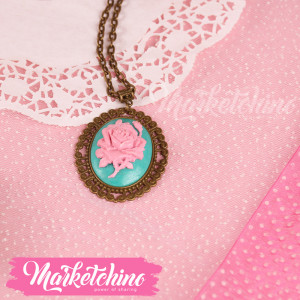 Necklace-Polymer Clay-Pink Flower