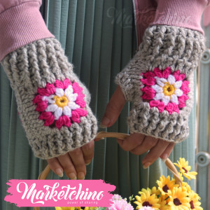 Gloves-Flower-Gray