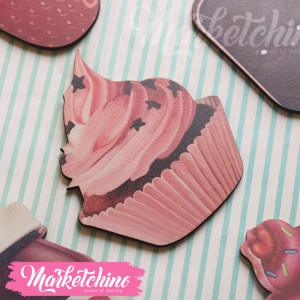 Wood Magnet-Cup Cake