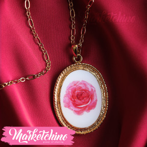 Necklace-Red Flower-Gold