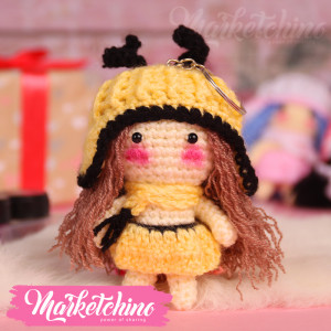 Keychain-Crochet-Girl-Yellow