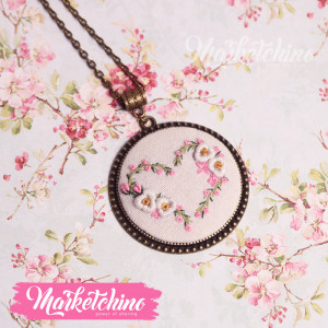 Embroidered Necklace-Flowers-Heart