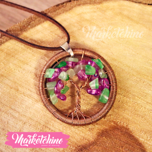 Necklace-Copper-Purple&Green