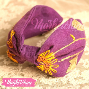 Embroidered Hairband-Purple