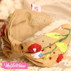 Embroidered Hairband-Beige-1