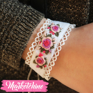 Embroidered Bracelet-White