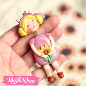 Keychain-Girl In Purple-Polymer Clay
