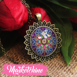 Necklace-Islamic Pattern-Purple&Fuchsia