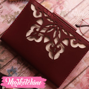 Leather Notebook-Ornamented-Maroon