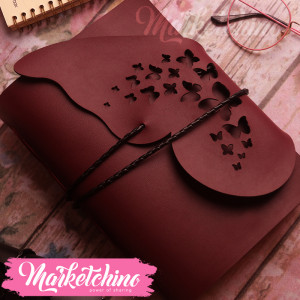 Leather Notebook-Butterfly-Maroon