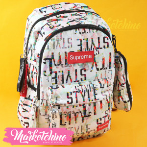 Backpack-Supreme-White&Orange