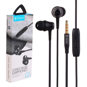 Celebrat-Stereo Music Earphones  (G5)  Black