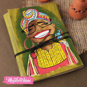 Leather Sketch Book-Laughing girl