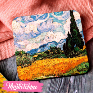 Coaster-Wheat Field With Cypresses