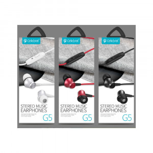 Celebrat-Stereo Music Earphones  (G5)  Red
