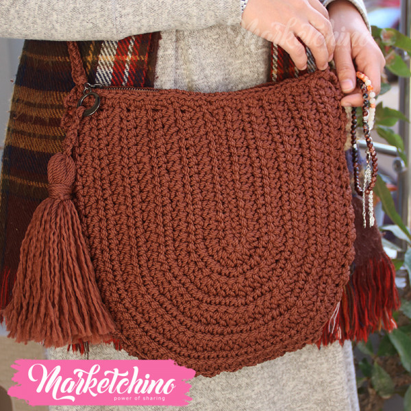 Cross Bag Crochet-Brown