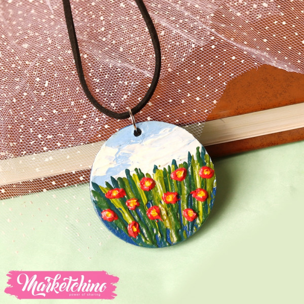 Necklace-Wood-Red Flowers